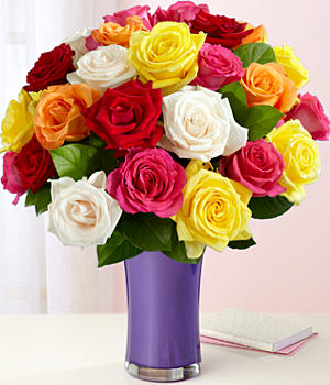 Two Dozen Long Stemmed Mother's Day Rainbow Roses