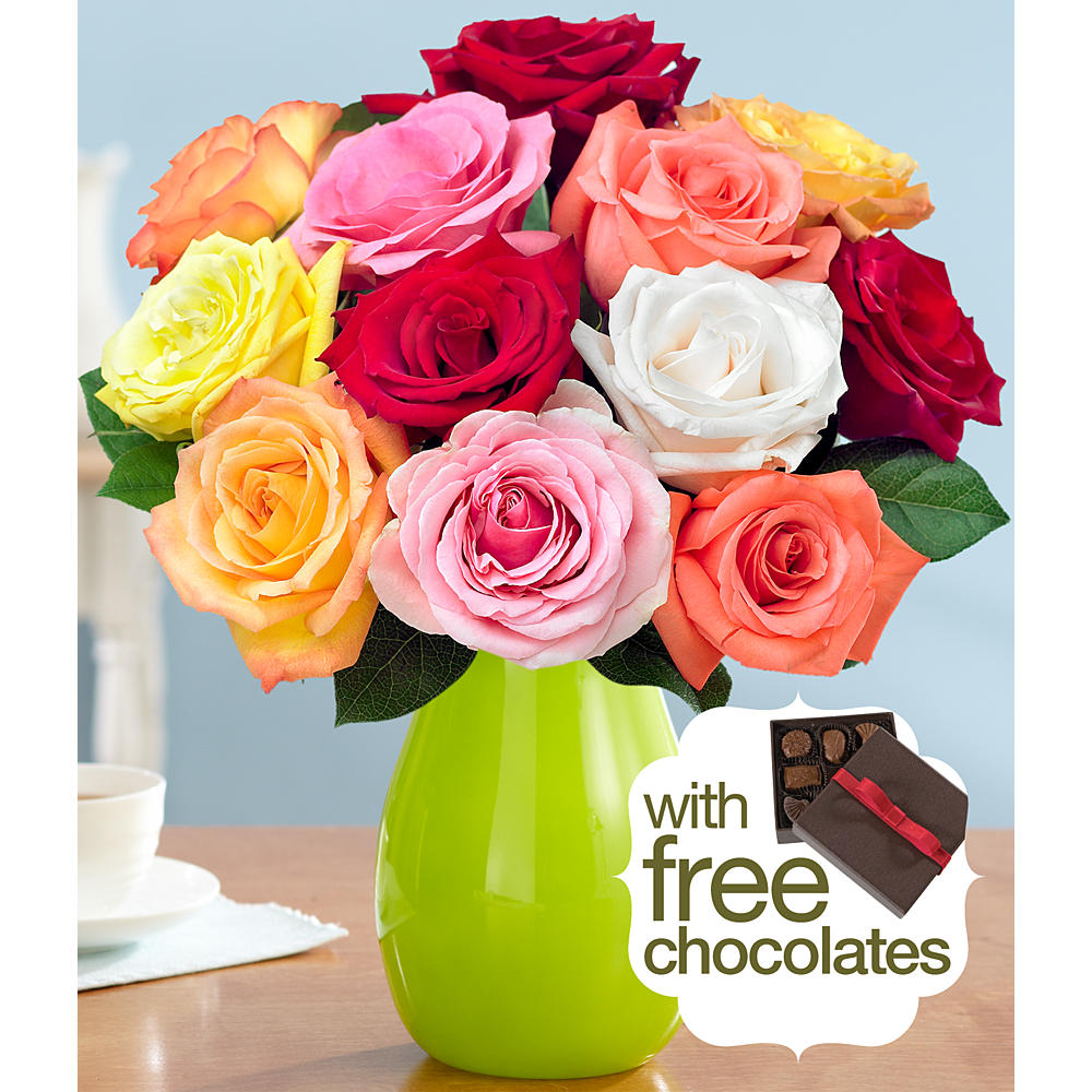 One Dozen Assorted Roses with FREE Chocolates
