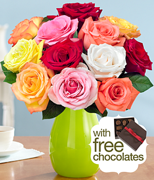 One Dozen Rainbow Roses with FREE Chocolates