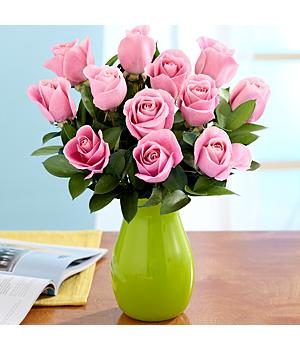 One Dozen Long Stemmed Pink Roses