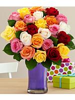 Two Dozen Vibrant Birthday Roses