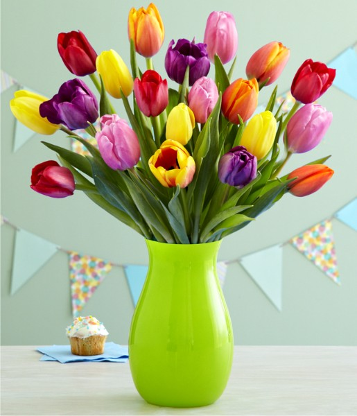 ProFlowers - Flowers - 20 Assorted Birthday Tulips with Vase