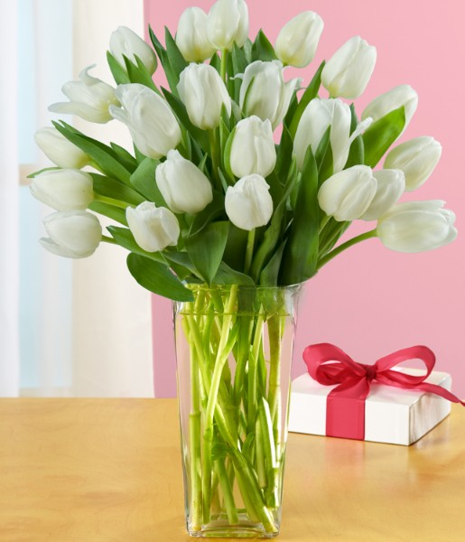 ProFlowers - Flowers - 20 White Tulips with Vase