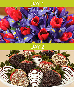 Deluxe Hugs & Kisses with 12 Hand-Dipped Strawberries with Free Vase