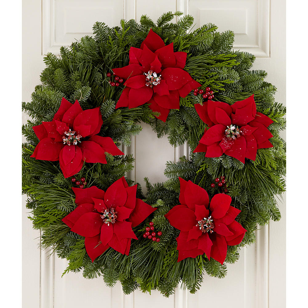 "Poinsettia Lane Collection - 22"" Wreath"