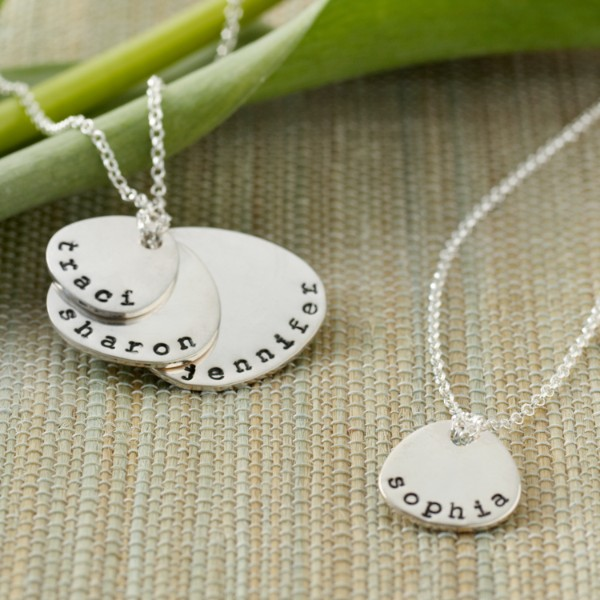 hand-stamped mother + children necklace