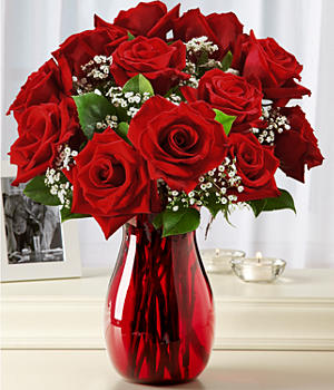 One Dozen Red Roses with Ruby Vase