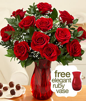 One Dozen Long Stemmed Red Roses with Ruby Vase