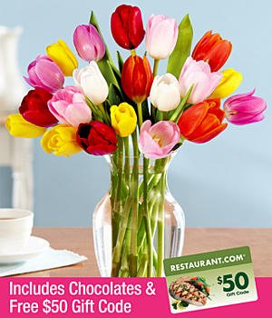 ProFlowers - 20 Multi-Colored Tulips, Chocolates & FREE $50 Restaurant.com Gift Code
