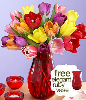 20 Assorted Tulips with Free Ruby Vase
