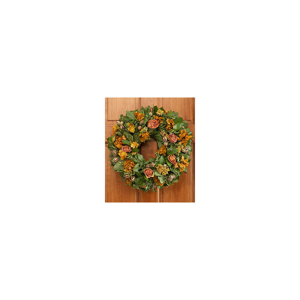 "18"" Autumn Roses Wreath - Preserved"