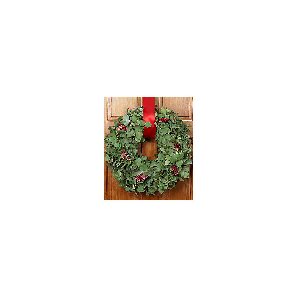 House Plants - Eucalyptus Wreath w/ Red Berries