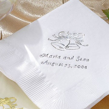 Personalized Wedding Dinner Napkins - Set of 100,White, Bells - Wedding Gift