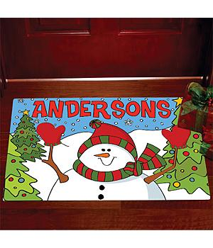 "Christmas Decorations - Personalized Snowman Doormat - 17"" x 27"